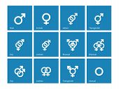stock photo of orientation  - Sexual orientation icons on blue background - JPG