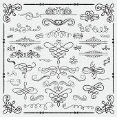 stock photo of scroll design  - Set of Hand Drawn Black Doodle Design Elements - JPG