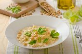 stock photo of chickpea  - Chickpeas with paprika cream sauce sprinkled with herbs organic chickpeas - JPG