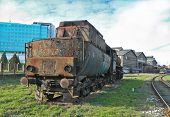 picture of locomotive  - Large old steam locomotive which for years waiting for repair and Museum - JPG