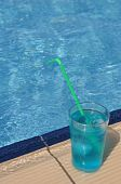 foto of corazon  - gorgeous blue corazon cocktail at the pool side - JPG