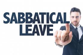 stock photo of sabbatical  - Business man pointing the text - JPG