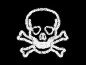 image of skull cross bones  - Symbol of skull bone from the cloud on black background - JPG