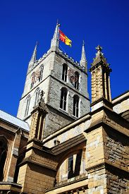 stock photo of william shakespeare  - Southwark Cathedral stands at the south end of London Bridge - JPG