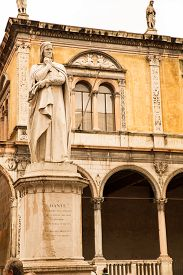 stock photo of alighieri  - The Dante Alighieri statue in the center of Verona Italy - JPG