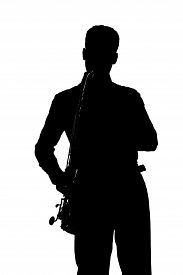 stock photo of saxophone player  - Saxophone player silhouette isolated on white background - JPG