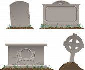 stock photo of tombstone  - color vector image of various old tombstones - JPG
