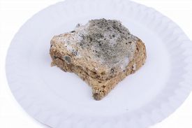 picture of smut  - Mouldy bread isolated on a white background - JPG