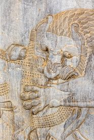 stock photo of zoroastrianism  - Lion relief detail at the relief of the old city Persepolis - JPG