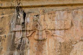 picture of zoroastrianism  - Faravahar Royal tombs detail of the Zoroastrianism - JPG