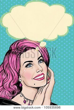 Pop Art illustration of pink head girl on Pop art  background.Pop Art girl. Party invitation.