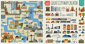 Great city map creator.Seamless pattern map and  Houses, infrastructure, industrial, transport, vill poster