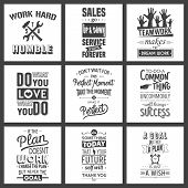 Set of vintage business motivation typographic quotes. poster