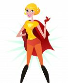 Blond Super woman in red costume (superhero)