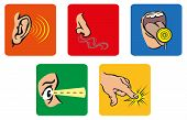 stock photo of senses  - Icons representing the 5 senses of the uman - JPG