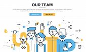 Flat line design style modern vector illustration concept for business people teamwork poster