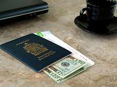 stock photo of passbook  - Canada passport with boarding pass - JPG