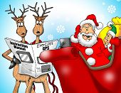 foto of santa sleigh  - Image of Santa with Reindeer and an Elf trying to figure out a GPS - JPG