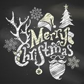 Постер, плакат: Chalk Merry Christmas Design