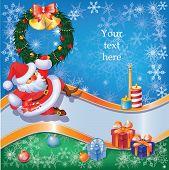 Santa card with Christmas decor