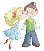 picture of fidget  - The girl is kissing the confused boy - JPG