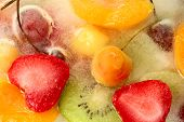 Mix Of Berries And Fruit In Ice