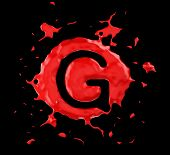 image of g-spot  - Red blob G letter over black background - JPG