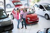excited family buying a new car in the car dealership  saloon poster