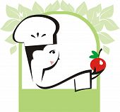 Cute woman chef with apple natural cooking