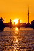 Berlim Oberbaumbruecke Sunset