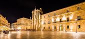 Syracuse, Italy - June 23, 2017: Ortigia Downtown In Syracuse By Night poster