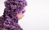 covered with lilac girl portrait