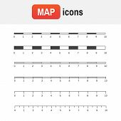 Scale Measure Map. Vector Map Scales Graphics For Measuring Distances poster