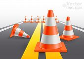 Road with under construction traffic cones. Vector illustration