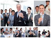 image of office party  - Collage of business people celebrating success with champagne - JPG