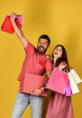 Man With Beard Holds Polka Dotted Box. Shopping And Spending poster