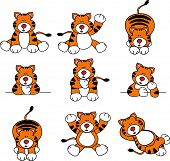 stock photo of tiger cub  - Set of 9 illustrations of cute cartoon tigers - JPG
