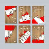 Peru Patriotic Cards For National Day. Expressive Brush Stroke In National Flag Colors On Kraft Pape poster