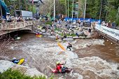 Vail, Colorado - June 3rd 2011 : Freestyle kayak and SUP surfing at the Teva Mountain Games