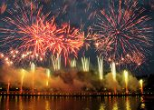 Fireworks with reflections