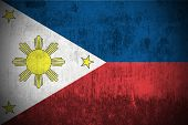 Weathered Flag Of Philippines, fabric textured