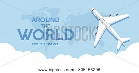 poster of Travel, Banner, Tourism, Vector, Illustration, World, Background, Airplane, Vacation, Business, Web,