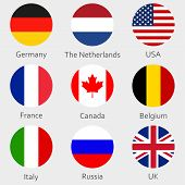 Circle Flags Icon Or Badges Set. Round National Symbol Of Usa, Uk, Holland, The Netherlands, Germany poster