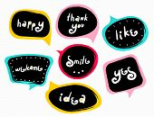 Funny Modern Speech-bubbles With Words. Slogan Stylized Typography. Sketch Quotes And Phrases Collec poster