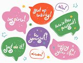 Funny Modern Speech-bubbles With Lettering Phrases. Stylized Slogan. Motivation Quotes And Phrases C poster