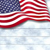 Waving Usa Flag Isolated On White Wooden Background. 4th Of July Holiday Banner Template. Independen poster