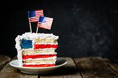 American National Holidays Concept - 4th Of July, Memorial Day, Labour Day. Layered Spounge Cake In  poster