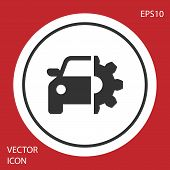Grey Car Service Icon Isolated On Red Background. Auto Mechanic Service. Mechanic Service. Repair Se poster