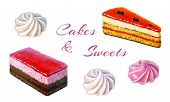 Bakery Goods And Sweets Set. Watercolor Illustration Of Sweet And Delicious Cakes And Sweets. Waterc poster