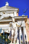 stock photo of arsenal  - Sculpture of Neptune with trident near to entrance to Venetian Arsenal Italy - JPG